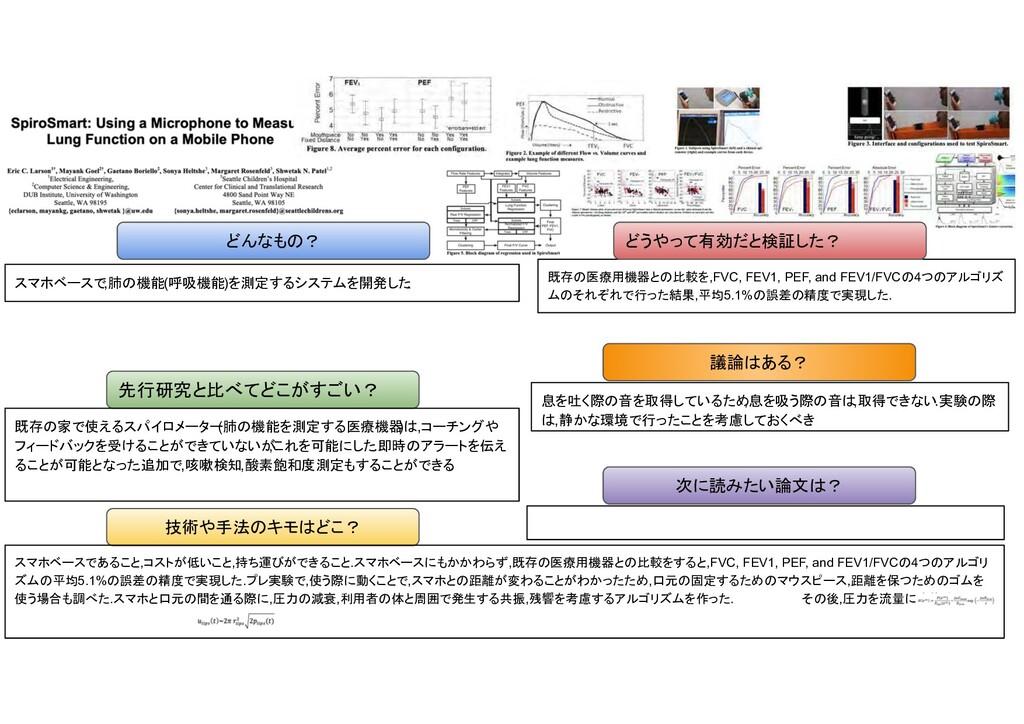 , 肺 機能 ( 呼吸機能 ) 測定 開発 . 先行研究 比べ い? 技術や手法 キ ? 既存...
