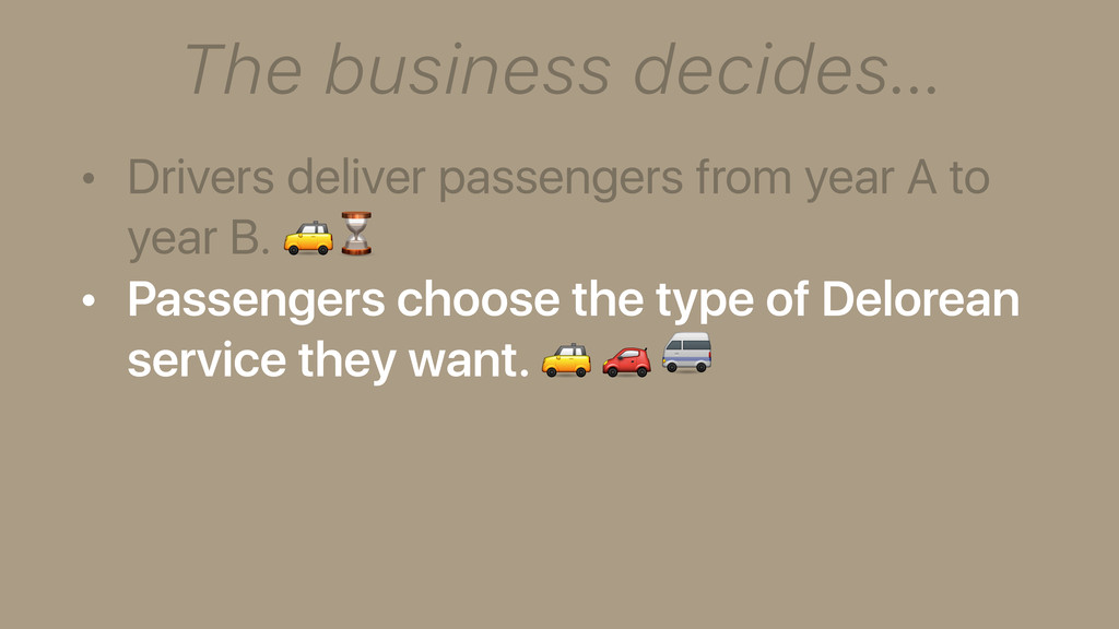 The business decides… • Drivers deliver passeng...