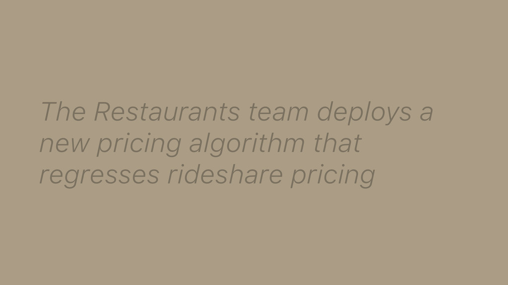 The Restaurants team deploys a new pricing algo...