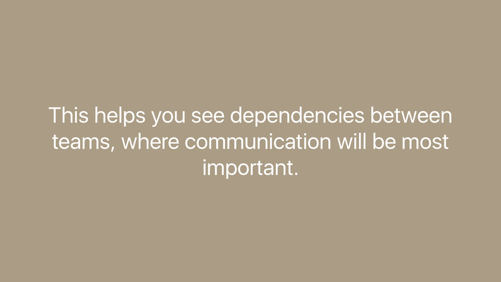This helps you see dependencies between teams, ...