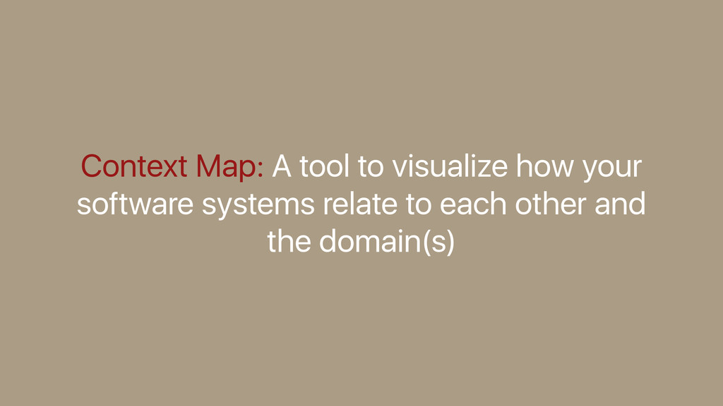 Context Map: A tool to visualize how your softw...