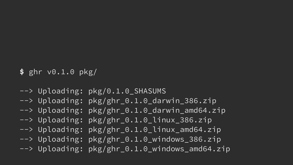 $ ghr v0.1.0 pkg/ ! --> Uploading: pkg/0.1.0_SH...