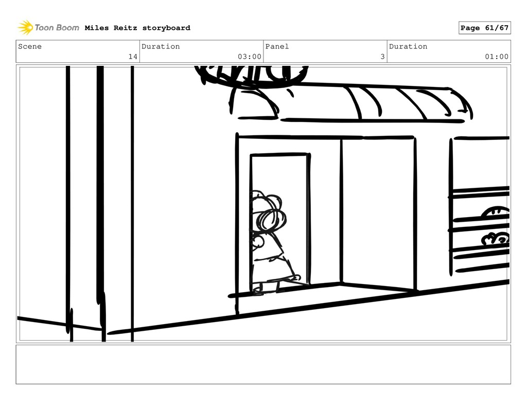 Scene 14 Duration 03:00 Panel 3 Duration 01:00 ...