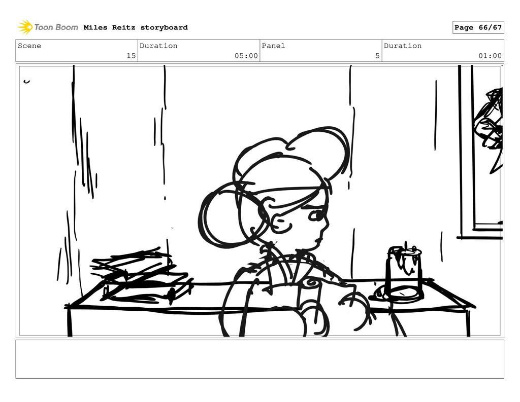 Scene 15 Duration 05:00 Panel 5 Duration 01:00 ...