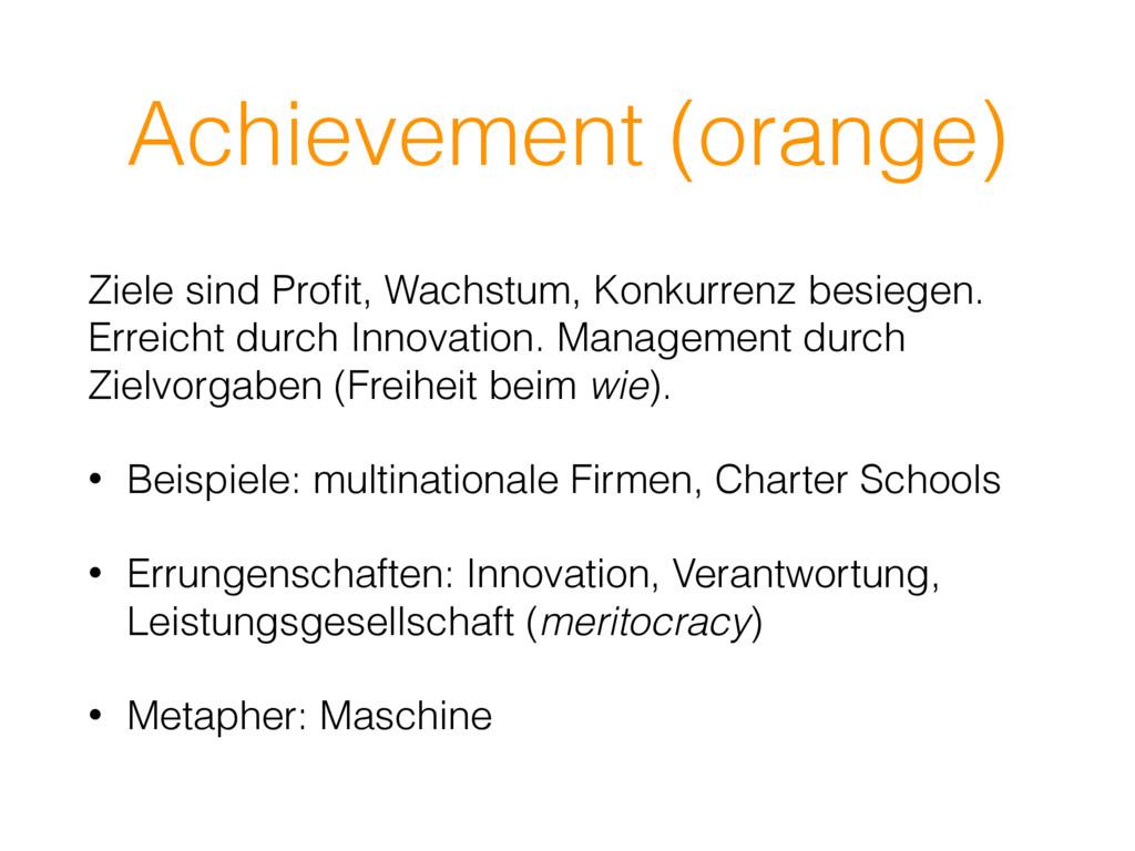 Achievement (orange) Ziele sind Profit, Wachstum...
