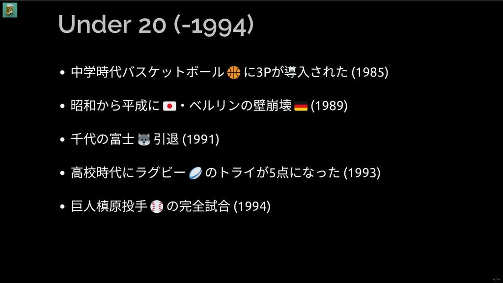 Under 20 (-1994) 中学時代バスケットボール に3P が導⼊された (1985)...