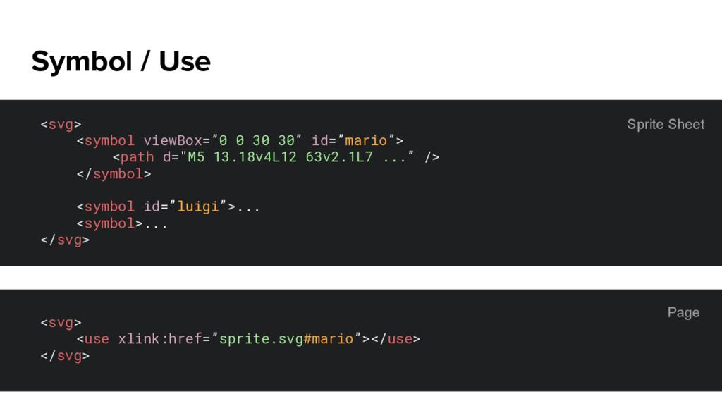 "Symbol / Use <svg> <symbol viewBox=""0 0 30 30"" ..."