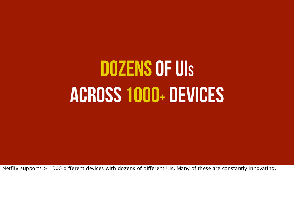 Dozens of UIs across 1000+ Devices Netflix suppo...