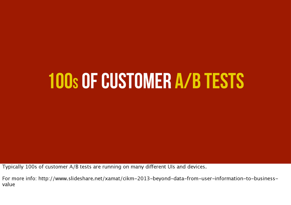 100s of Customer A/B Tests Typically 100s of cu...