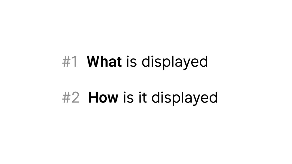 #1 What is displayed #2 How is it displayed