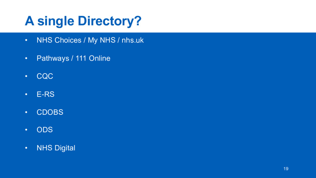 A  single  Directory? • NHS  Choices  /  My  NH...