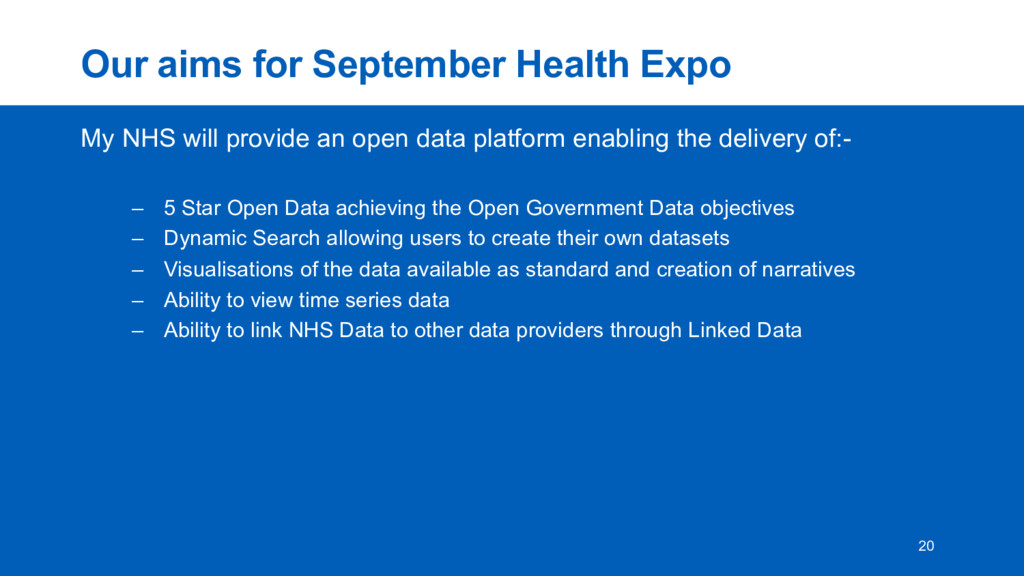 Our  aims  for  September  Health  Expo My  NHS...