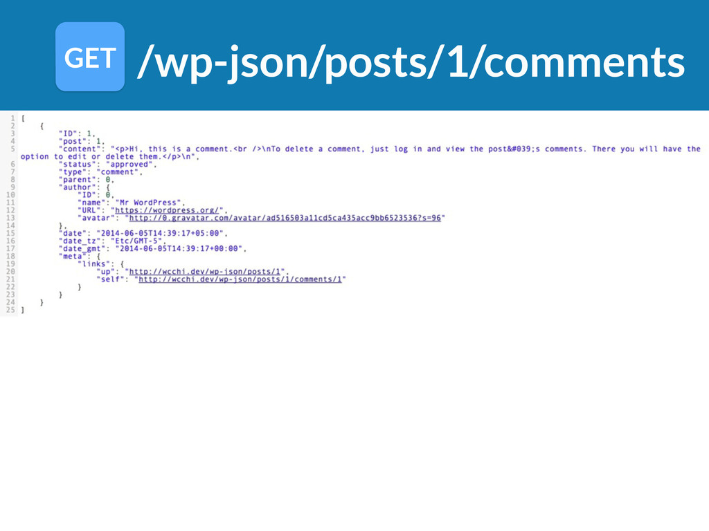 /wp-json/posts/1/comments GET