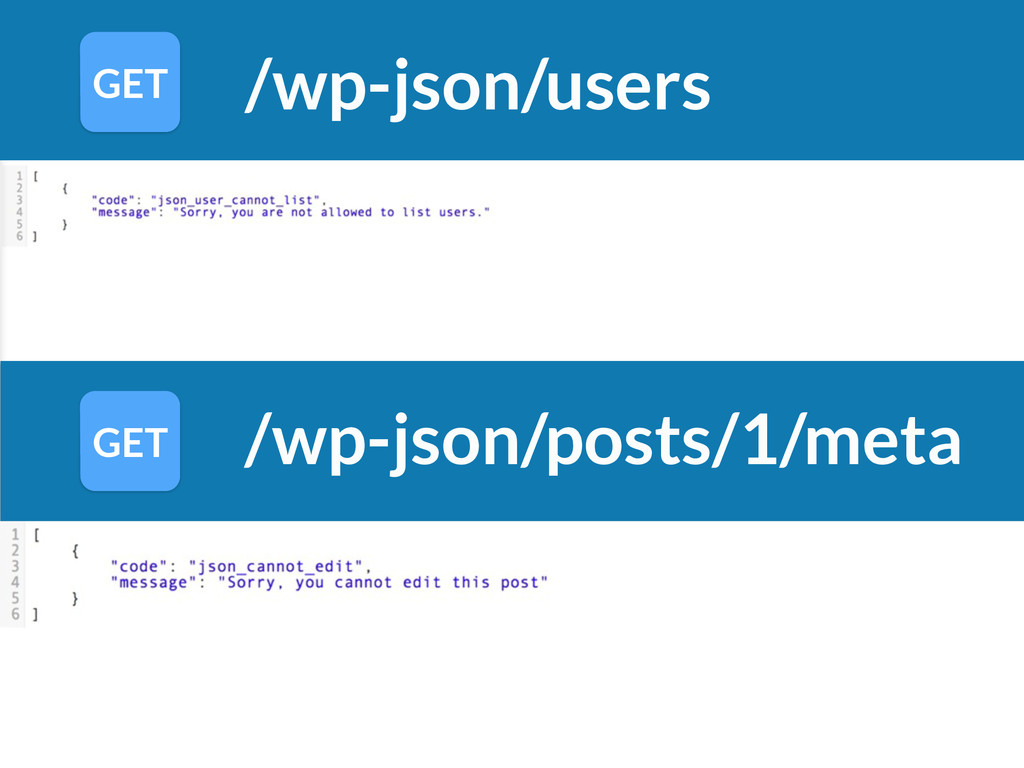 /wp-json/users GET GET /wp-json/posts/1/meta