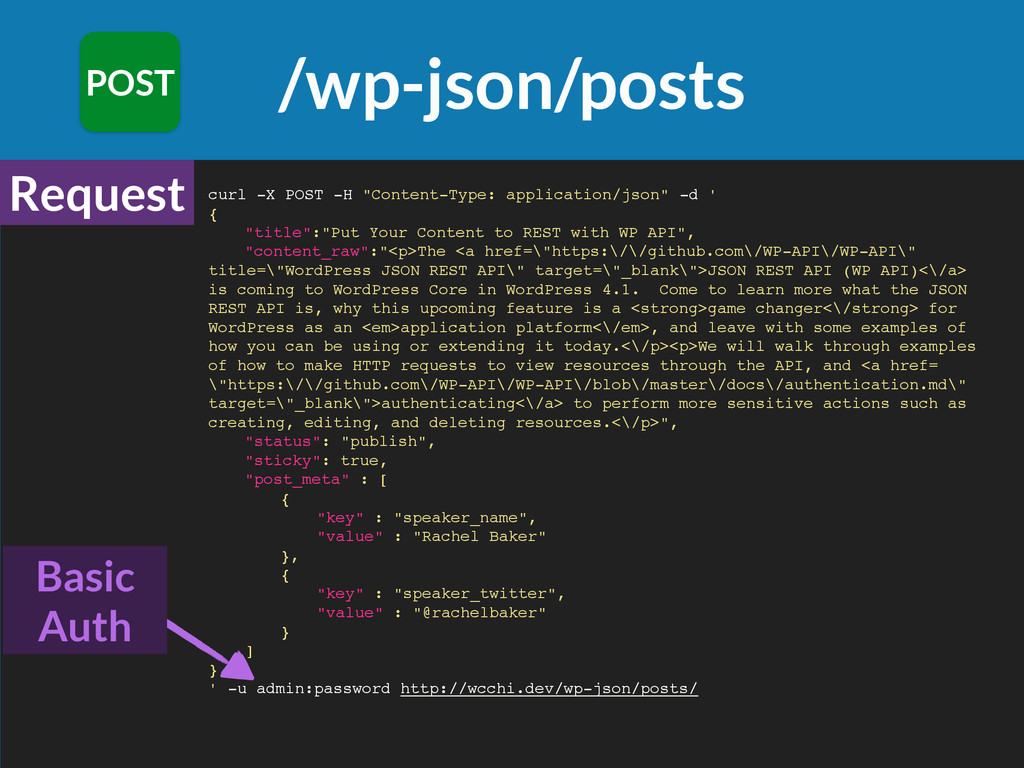 "/wp-json/posts POST curl -X POST -H ""Content-Ty..."