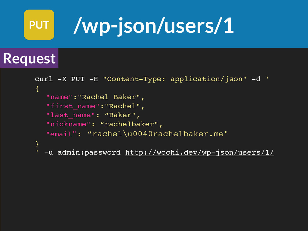 /wp-json/users/1 PUT Request Request curl -X PU...