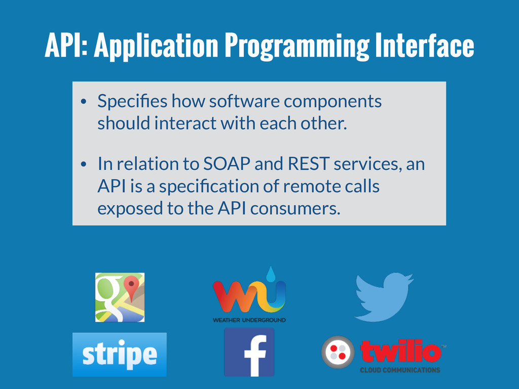 API: Application Programming Interface • Specifi...
