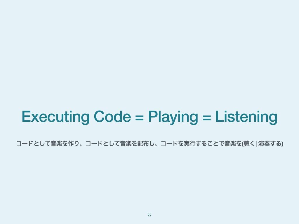 Executing Code = Playing = Listening 22 ίʔυͱͯ͠Ի...