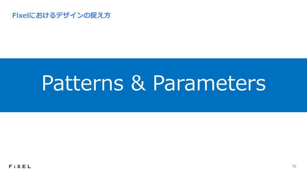 70 Fixelにおけるデザインの捉え⽅ Patterns & Parameters