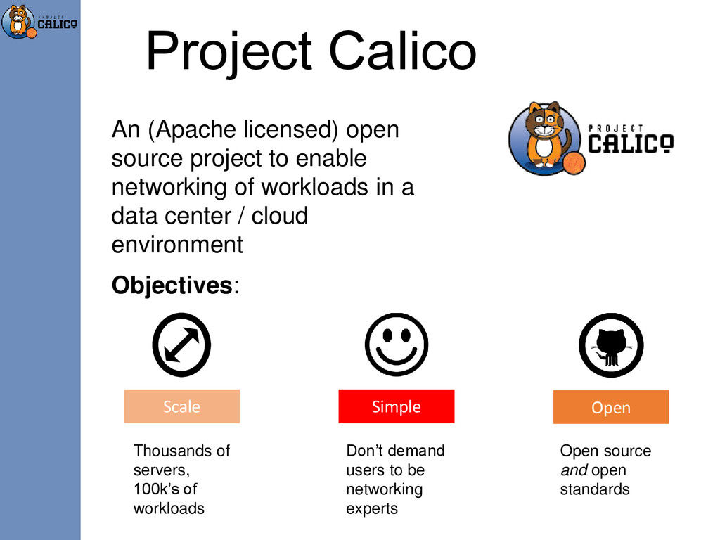 Project Calico An (Apache licensed) open source...