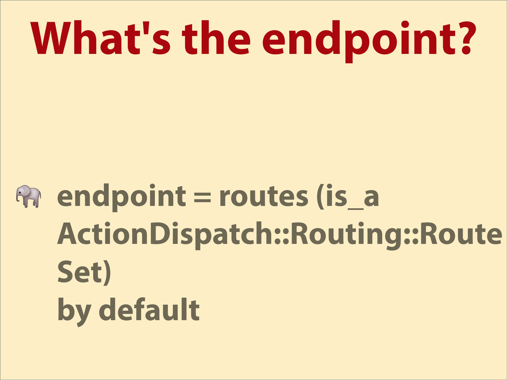 What's the endpoint?  endpoint = routes (is_a A...