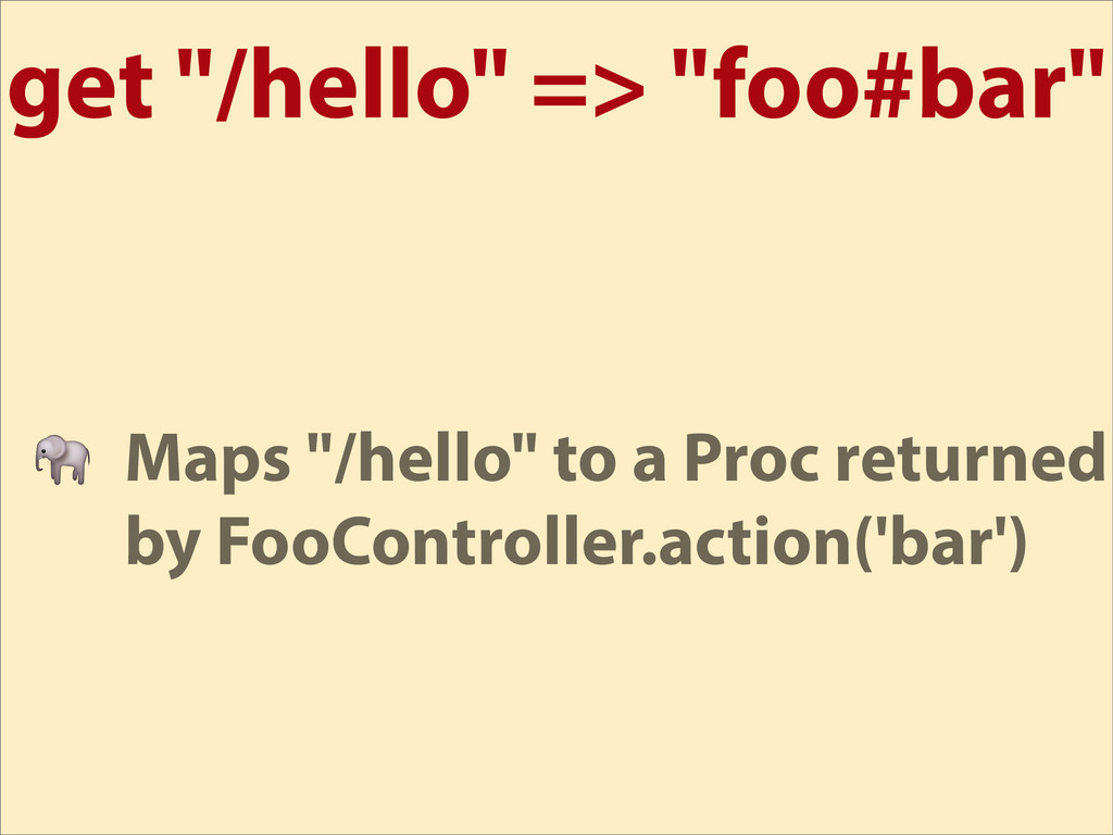 "get ""/hello"" => ""foo#bar""  Maps ""/hello"" to a P..."