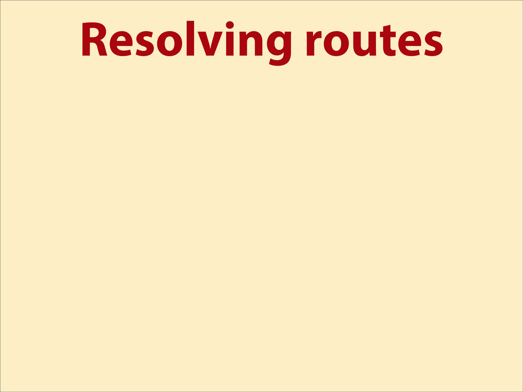Resolving routes