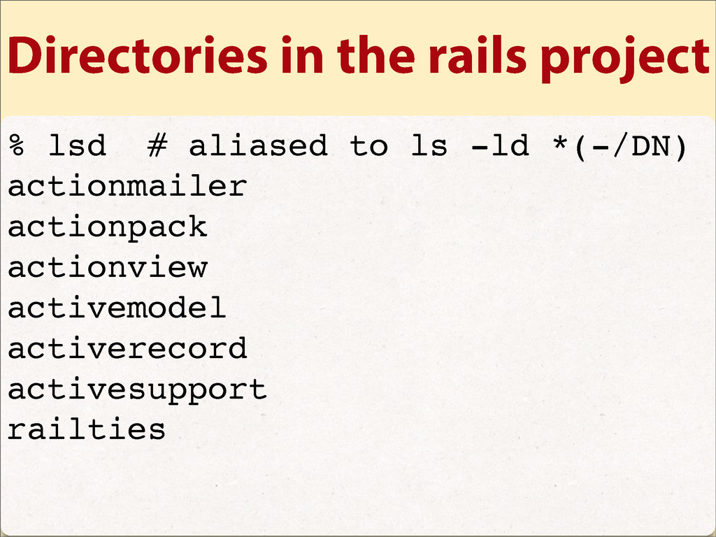 Directories in the rails project % lsd # aliase...