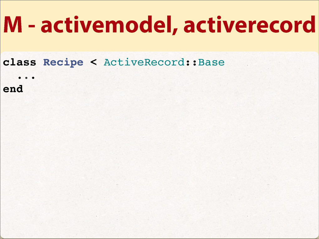 M - activemodel, activerecord class Recipe < Ac...