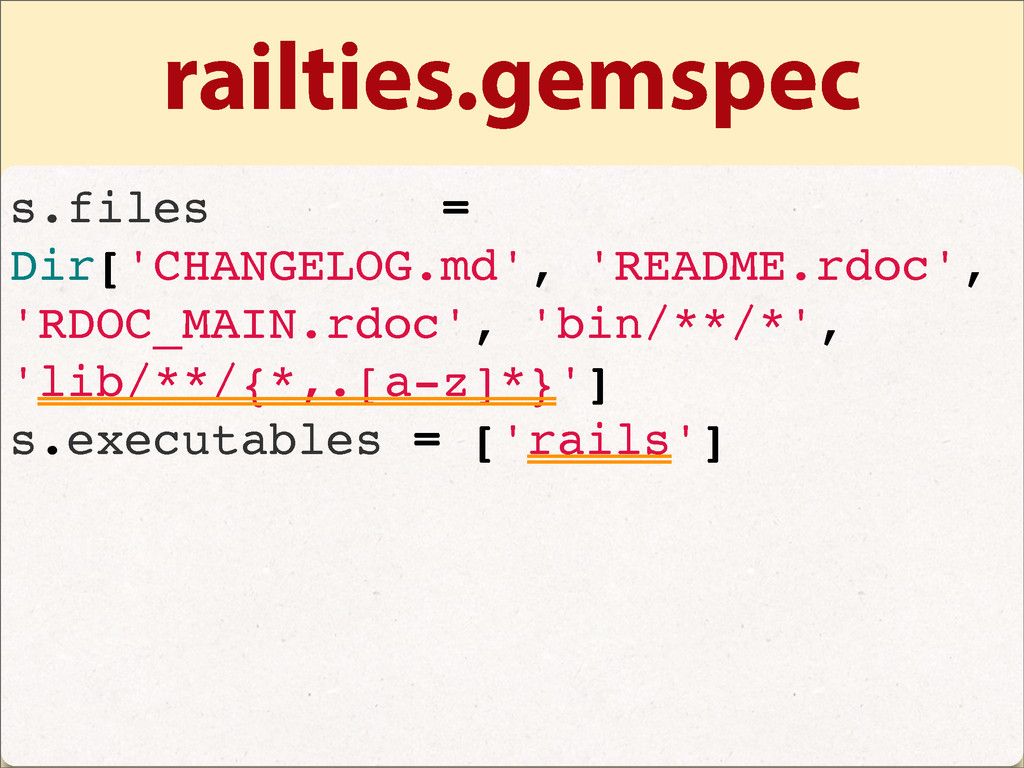 railties.gemspec s.files = Dir['CHANGELOG.md', ...