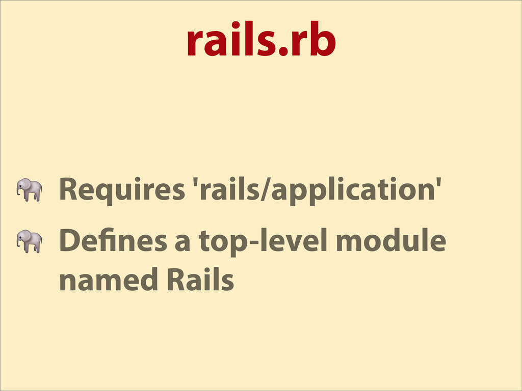 rails.rb  Requires 'rails/application'  De nes ...