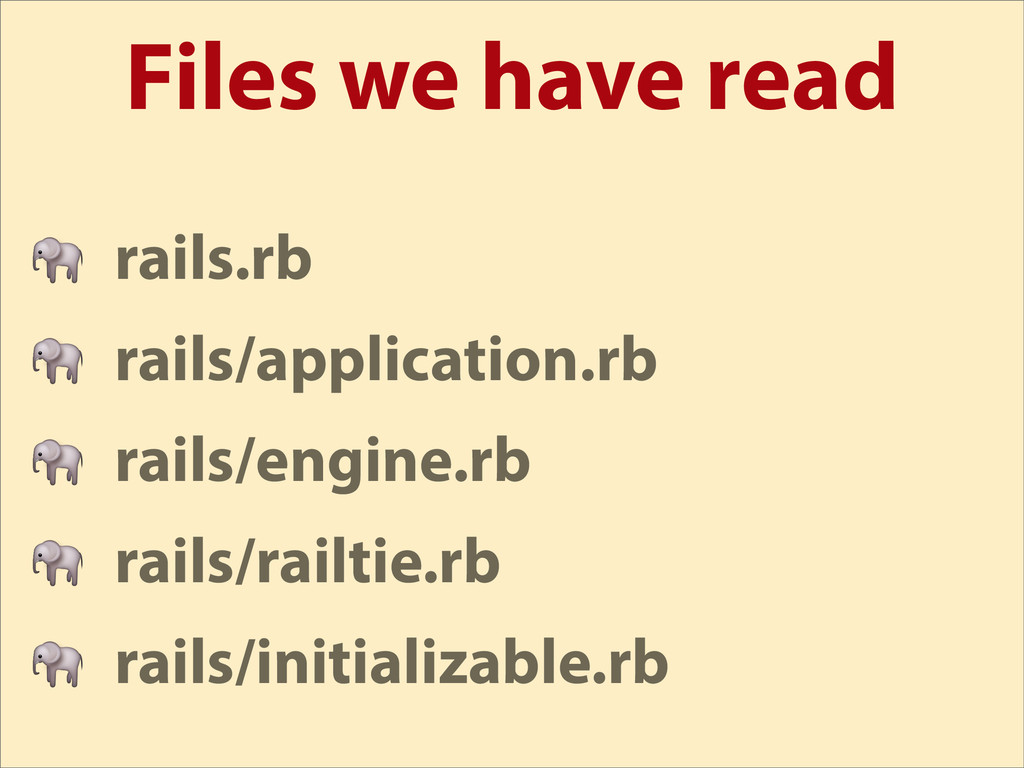Files we have read  rails.rb  rails/application...