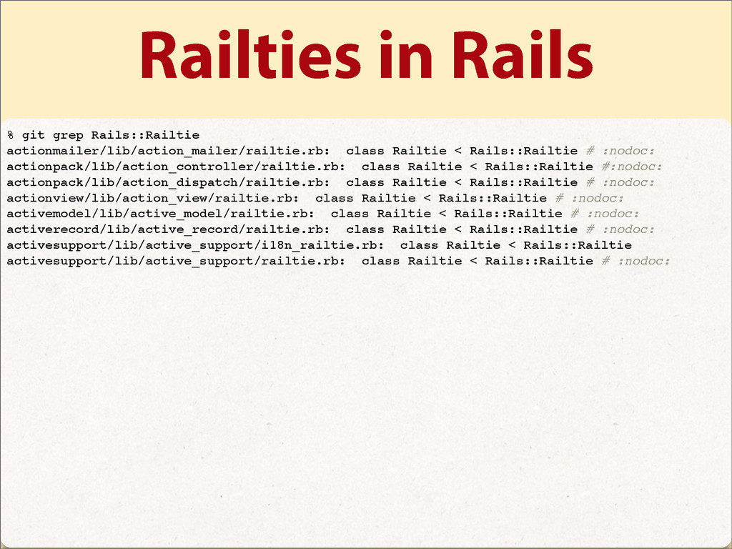 Railties in Rails % git grep Rails::Railtie act...