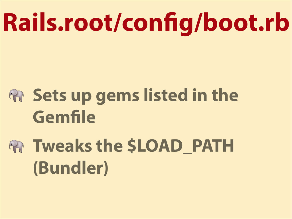 Rails.root/con g/boot.rb  Sets up gems listed i...