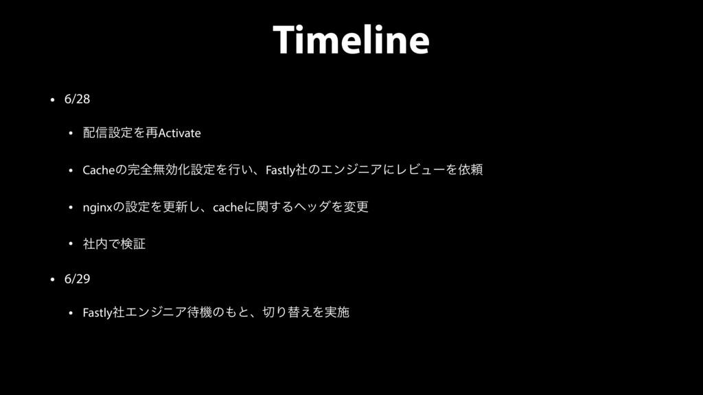 Timeline • 6/28 • ৴ઃఆΛ࠶Activate • CacheͷશແޮԽઃ...