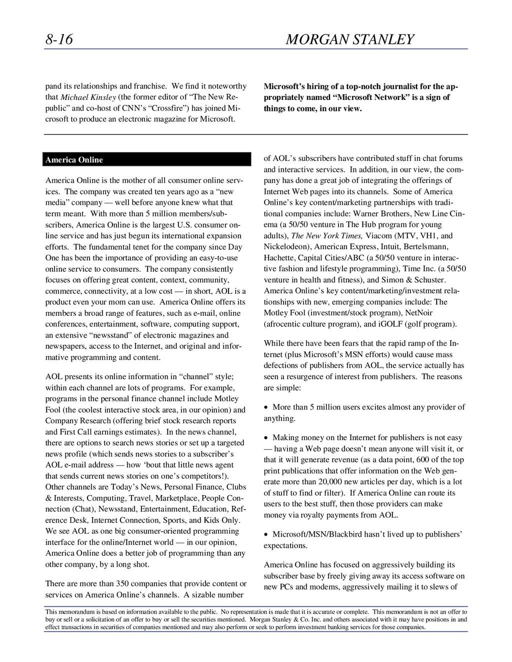 8-16 MORGAN STANLEY This memorandum is based on...