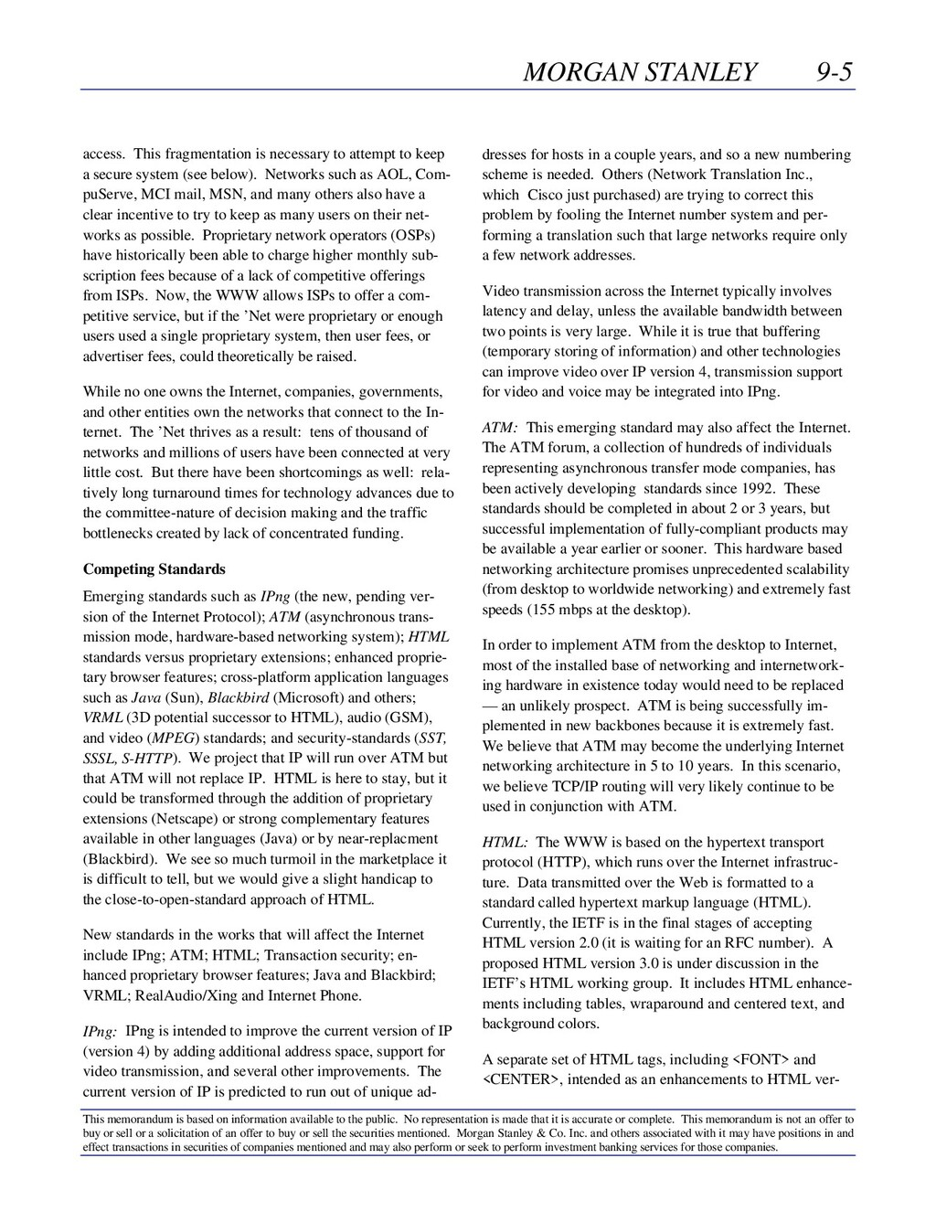 MORGAN STANLEY 9-5 This memorandum is based on ...