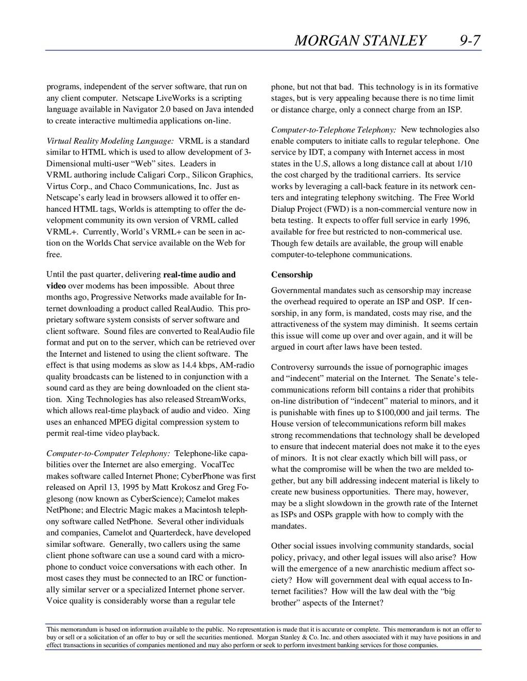 MORGAN STANLEY 9-7 This memorandum is based on ...