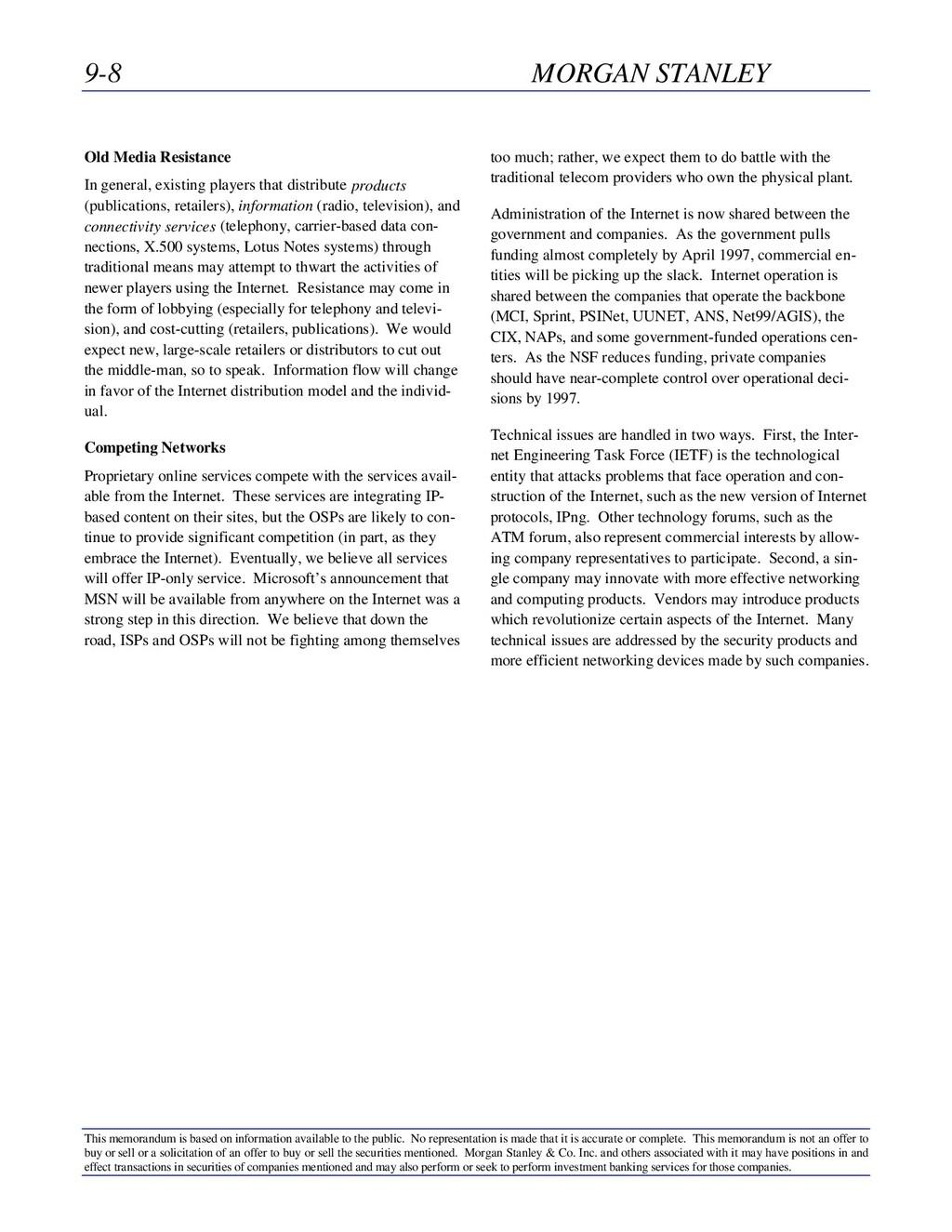 9-8 MORGAN STANLEY This memorandum is based on ...