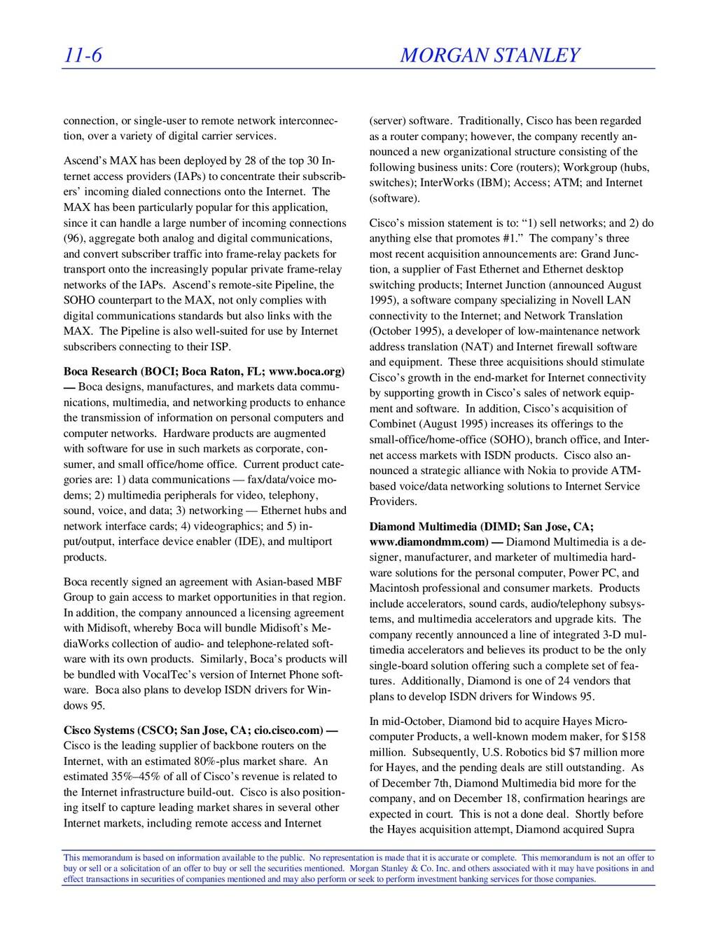 11-6 MORGAN STANLEY This memorandum is based on...
