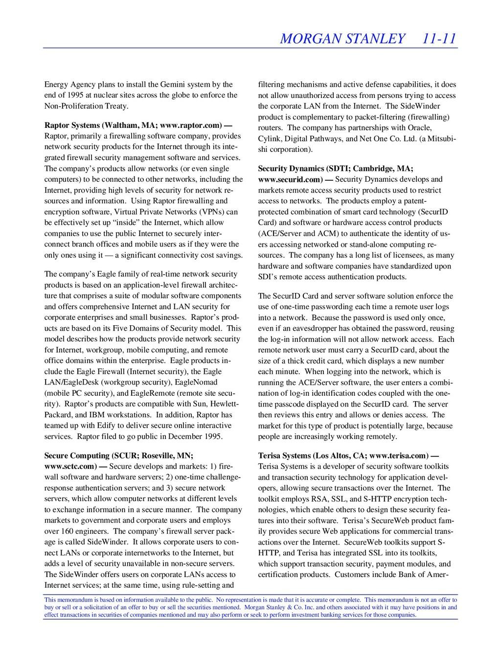 MORGAN STANLEY 11-11 This memorandum is based o...