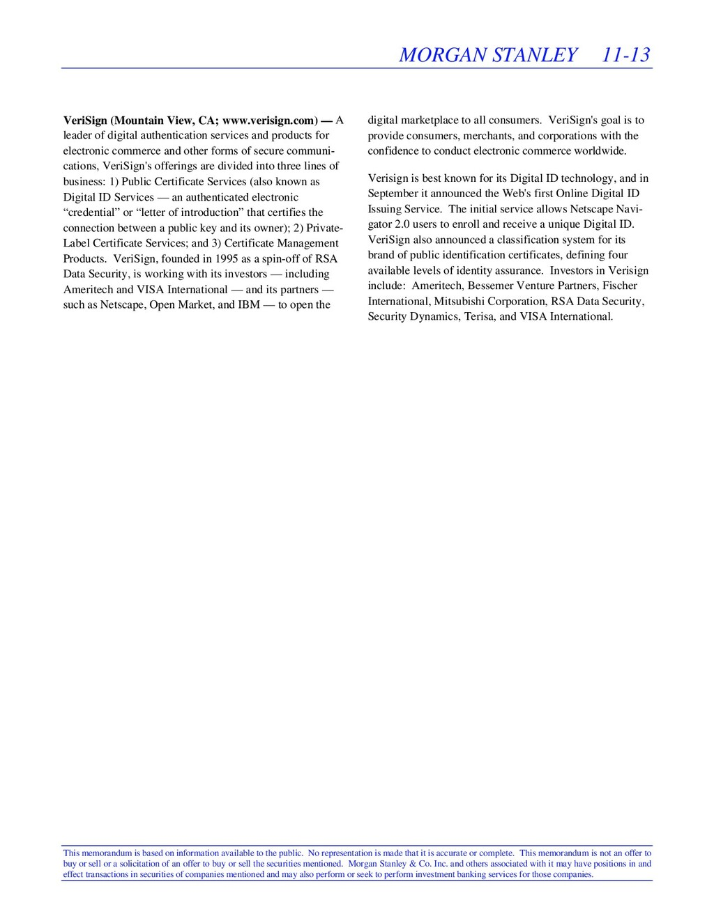 MORGAN STANLEY 11-13 This memorandum is based o...
