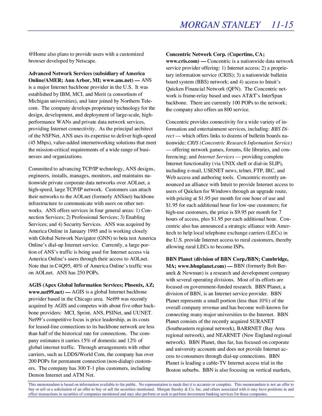 MORGAN STANLEY 11-15 This memorandum is based o...