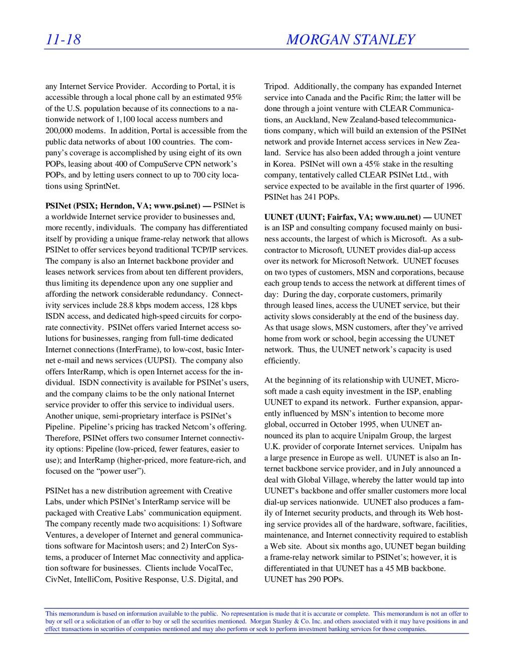 11-18 MORGAN STANLEY This memorandum is based o...