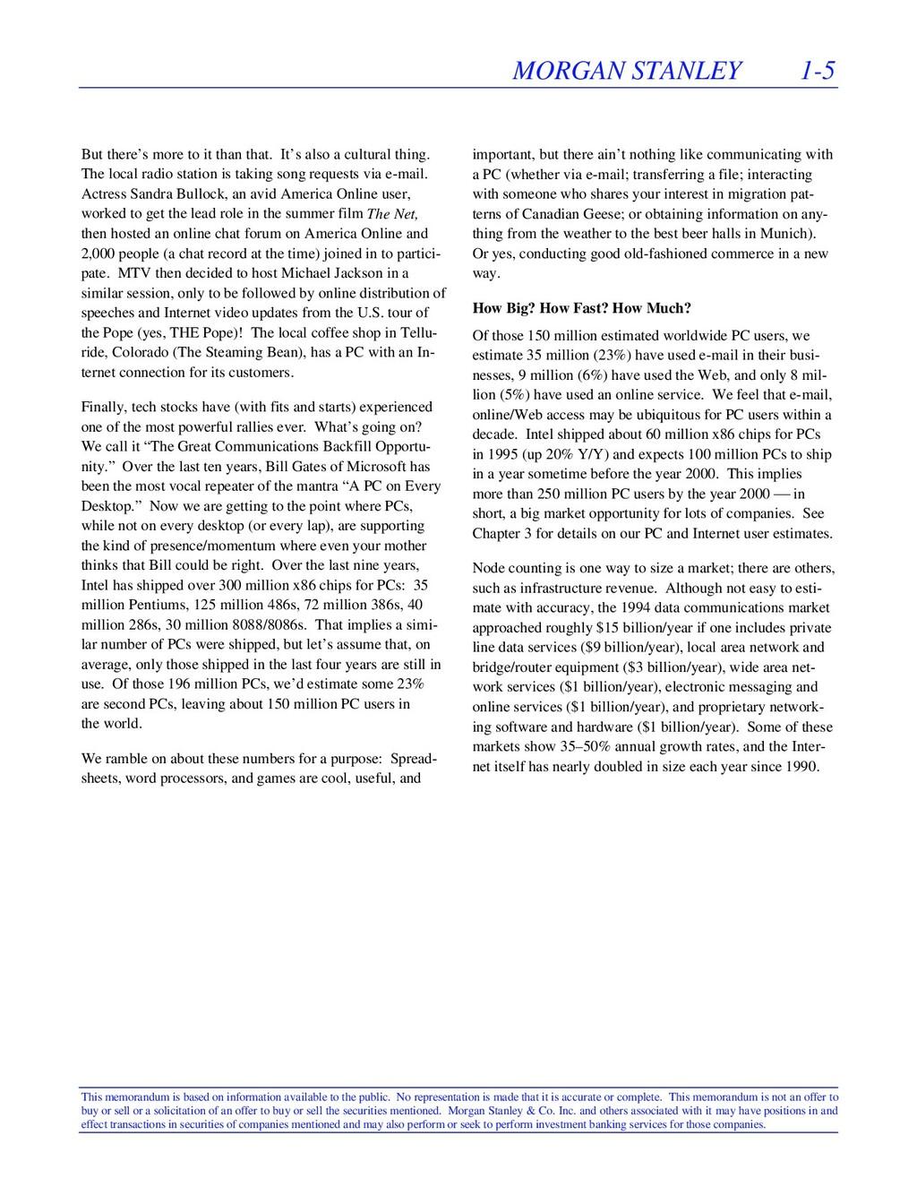 MORGAN STANLEY 1-5 This memorandum is based on ...