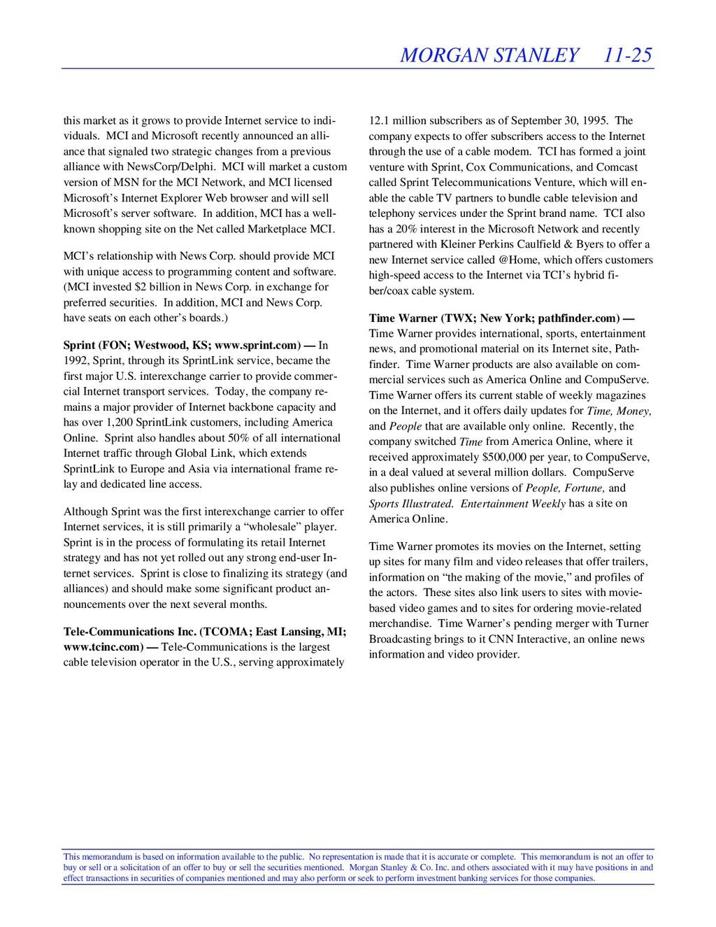 MORGAN STANLEY 11-25 This memorandum is based o...