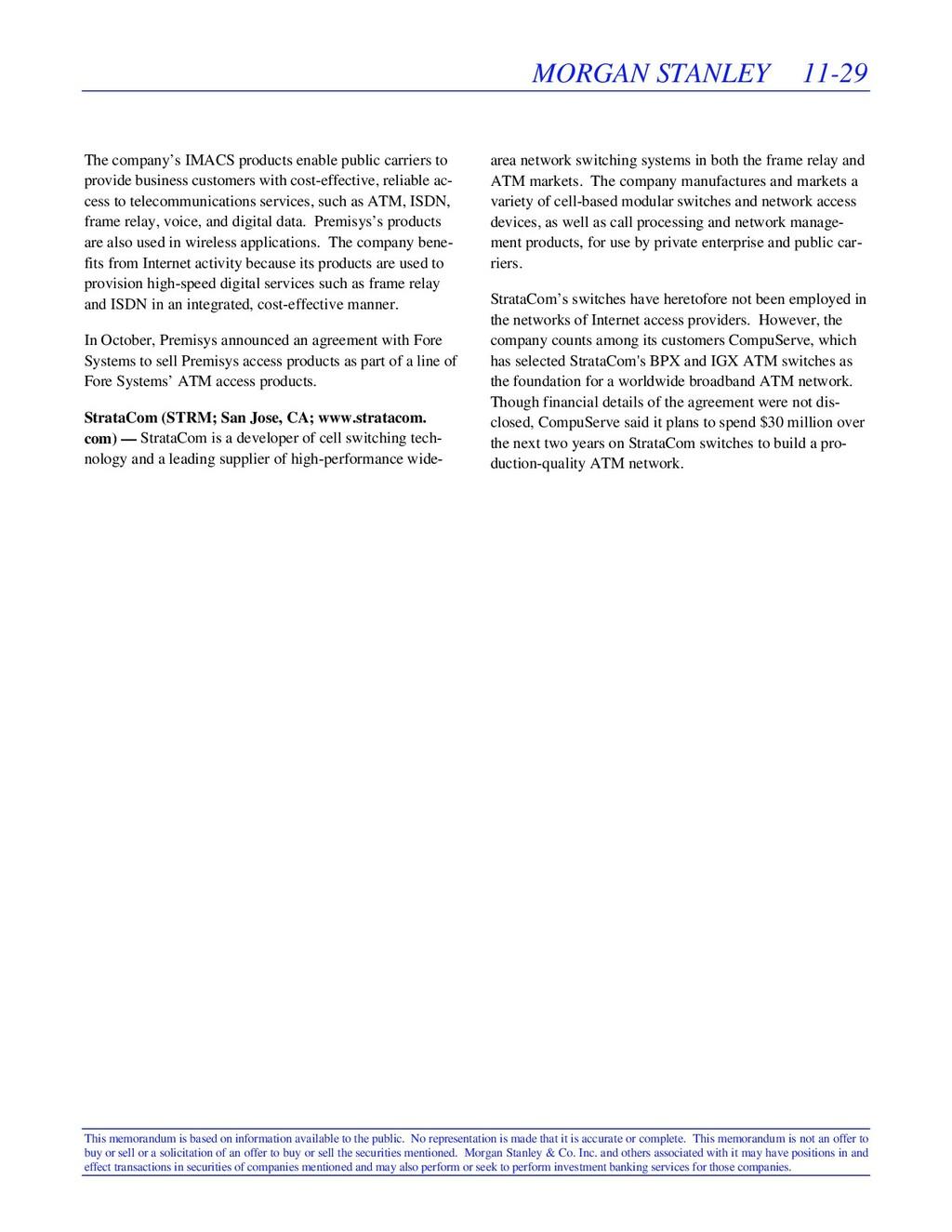 MORGAN STANLEY 11-29 This memorandum is based o...