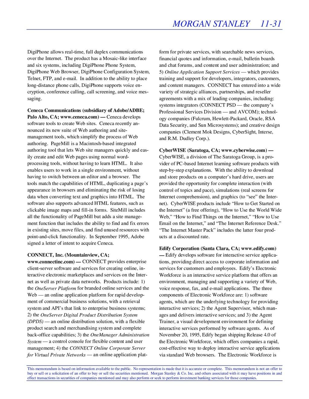MORGAN STANLEY 11-31 This memorandum is based o...