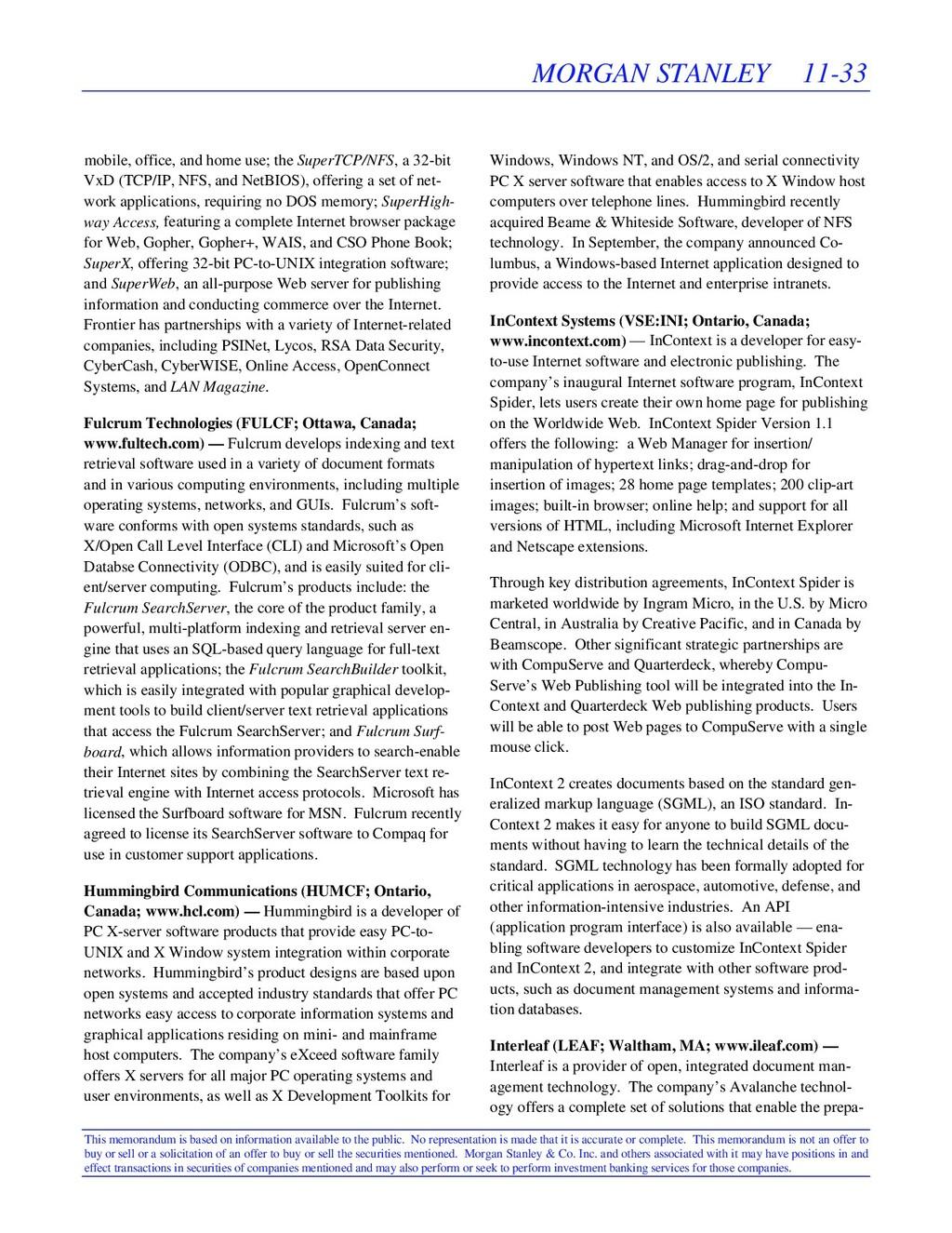 MORGAN STANLEY 11-33 This memorandum is based o...