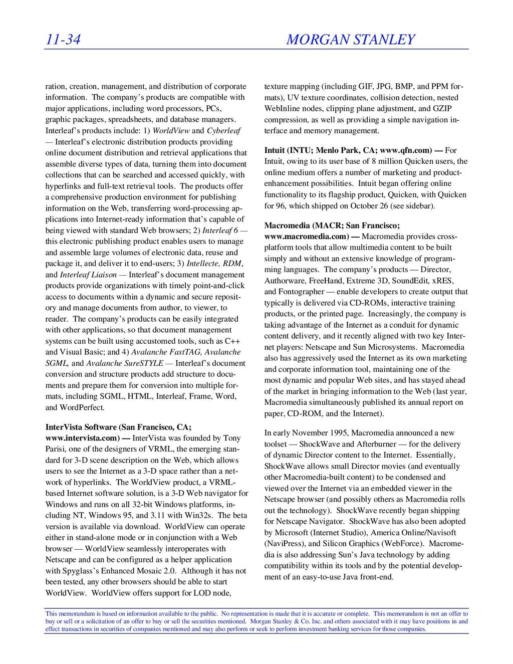 11-34 MORGAN STANLEY This memorandum is based o...